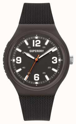 Superdry Zwarte soft-touch siliconen mat zwarte wijzerplaat SYG345B