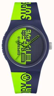 Superdry Navy & groen bedrukte siliconen soft-touch band | groene print wijzerplaat SYG346UN