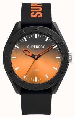 Superdry Zwarte soft-touch siliconen oranje sunray-wijzerplaat met schaalverdeling SYG321BO