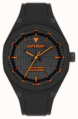 Superdry Zwarte siliconen soft-touch zwarte wijzerplaat SYG324B