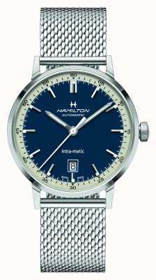 Hamilton Amerikaanse klassieker | intra-matic | stalen mesh armband | blauwe wijzerplaat H38425140