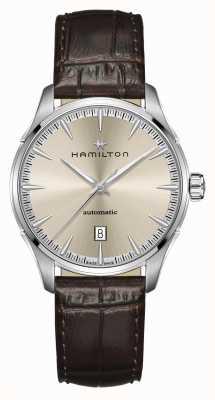 Hamilton Jazzmaster | auto | bruine leren band | champagne wijzerplaat H32475520