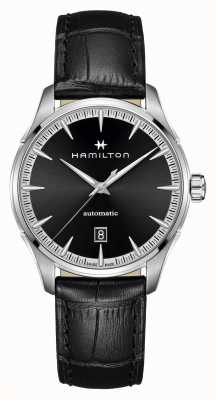 Hamilton Jazzmaster | auto | zwarte leren band | zwarte wijzerplaat H32475730