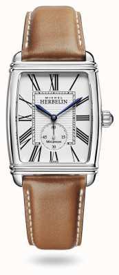 Michel Herbelin Art déco | automatisch | bruine lederen band zilveren wijzerplaat 1938/08GO