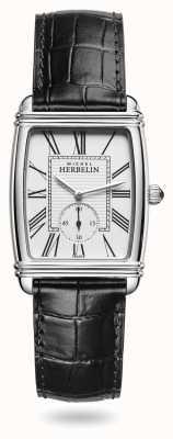Michel Herbelin Dames | art déco | zilveren wijzerplaat | zwarte lederen wijzerplaat 10638/08
