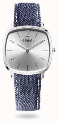 Michel Herbelin Stad | zilveren wijzerplaat | blauwe denim riem 16905/11JN