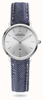Michel Herbelin Stad | blauwe spijkerband | zilveren wijzerplaat 16915/11JN