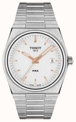 Tissot Zilverkleurige wijzerplaat PRX 40 mm voor heren T1374101103100