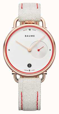 Baume & Mercier Baume | milieuvriendelijk kwarts | witte wijzerplaat | witte kurkband M0A10602
