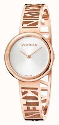 Calvin Klein Manie | roségoud pvd staal | zilveren wijzerplaat | maat M KBK2M616