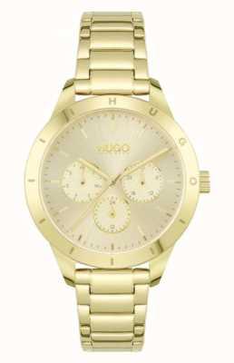 HUGO #vriend | vergulde stalen armband | gouden wijzerplaat 1540091