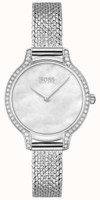 BOSS gala | vrouwen | roestvrijstalen mesh-armband | zilveren wijzerplaat | 1502558