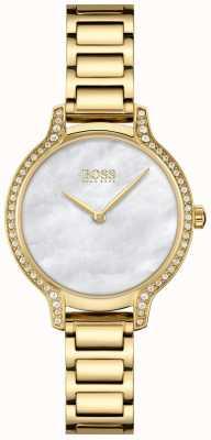 BOSS gala | vrouwen | vergulde armband | witte parelmoer wijzerplaat | 1502557