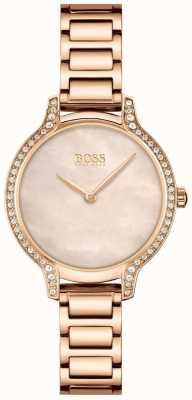 BOSS gala | vrouwen | rosé gouden armband | roségouden parelmoer wijzerplaat | 1502556