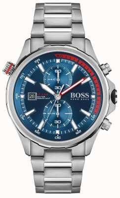 BOSS globetrotter | heren | roestvrijstalen armband | blauwe wijzerplaat | 1513823