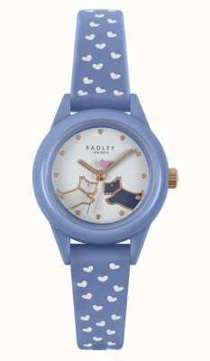 Radley Bekijk het! blauwe siliconen band voor dames | witte wijzerplaat RY21260