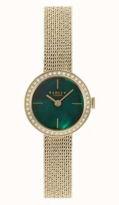 Radley vrouwen | vergulde mesh armband | groene parelmoer wijzerplaat | RY4568
