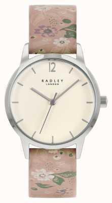 Radley Roze leren damesriem met bloemen | crème wijzerplaat RY21231A