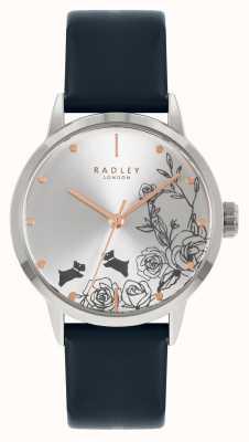 Radley Blauwe leren damesband | zilveren wijzerplaat RY21241A
