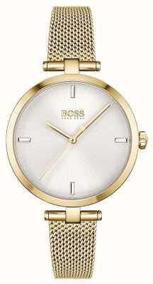 BOSS Dames | majesteit | zilveren wijzerplaat | gouden pvd mesh armband 1502586