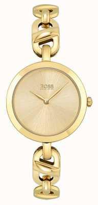 BOSS Dames | nieuwe ketting | gouden wijzerplaat | gouden pvd stalen armband 1502591