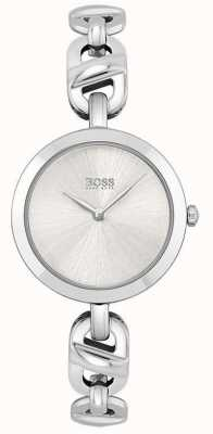 BOSS Dames | nieuwe ketting | zilveren wijzerplaat | roestvrijstalen armband 1502590