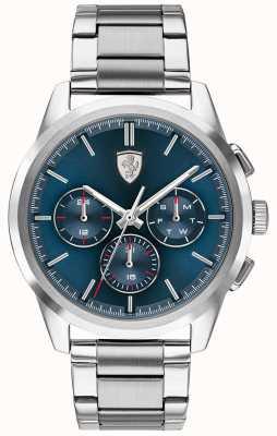 Scuderia Ferrari Grote tour | blauwe wijzerplaat | roestvrij stalen armband 0830804