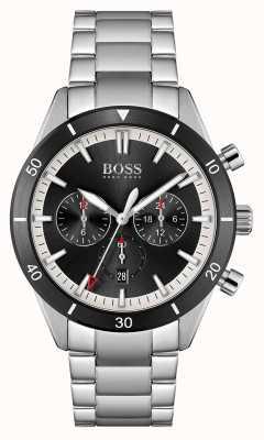 BOSS heren | Santiago | zwarte wijzerplaat | roestvrijstalen armband | 1513862