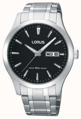 Lorus Heren | zwarte wijzerplaat | roestvrijstalen armband RXN23DX9