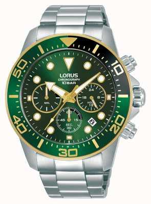 Lorus Heren | chronograaf | groene wijzerplaat | roestvrijstalen armband RT340JX9