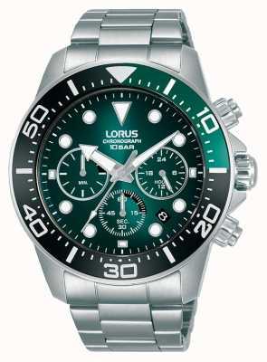 Lorus Herenchronograaf | groene wijzerplaat | roestvrijstalen armband RT341JX9