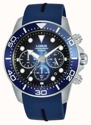 Lorus Heren | chronograaf | blauwe wijzerplaat | blauwe siliconen band RT349JX9