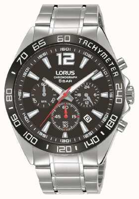 Lorus Heren | chronograaf | zwarte wijzerplaat | roestvrijstalen armband RT335JX9