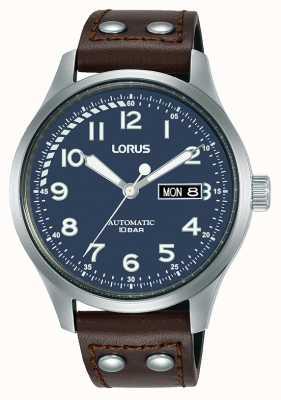 Lorus Heren | automatisch | blauwe wijzerplaat | bruine lederen band RL463AX9