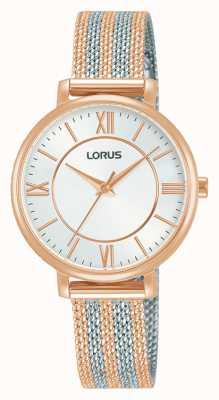 Lorus Dames | witte wijzerplaat | tweekleurige mesh armband RG216TX9