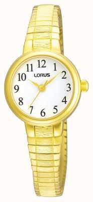 Lorus Dames | witte wijzerplaat | uitbreidbare gouden roestvrijstalen armband RG236NX9