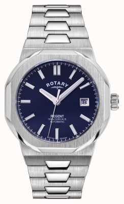 Rotary Heren | regent | automatisch | blauwe wijzerplaat | roestvrij stalen armband GB05410/05
