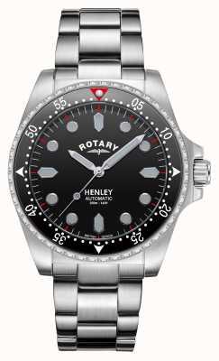 Rotary Heren | henley | automatisch | zwarte wijzerplaat | roestvrij stalen armband GB05136/04