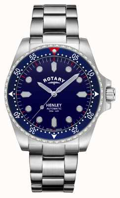 Rotary Heren | henley | automatisch | blauwe wijzerplaat | roestvrij stalen armband GB05136/05