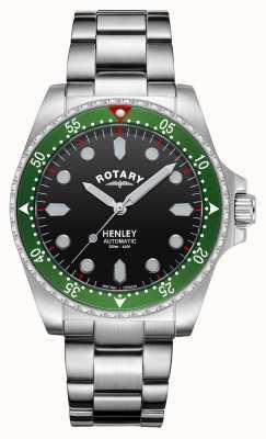 Rotary Heren | henley | automatisch | zwarte wijzerplaat | roestvrij stalen armband GB05136/71