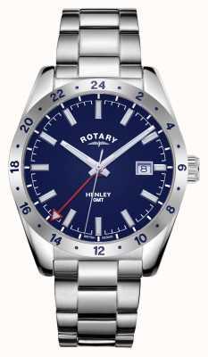 Rotary Heren | henley | gmt | blauwe wijzerplaat | roestvrij stalen armband GB05176/05