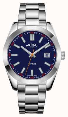 Rotary Heren | henley | blauwe wijzerplaat | roestvrij stalen armband GB05180/05