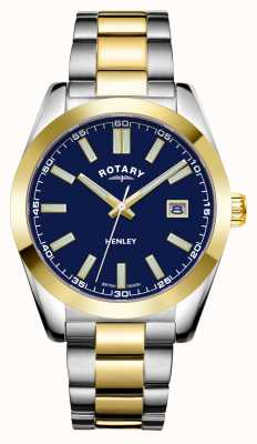Rotary Heren | henley | blauwe wijzerplaat | tweekleurige roestvrijstalen armband GB05181/05