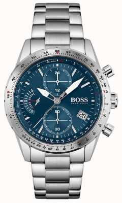 BOSS pilot editie | heren | roestvrijstalen armband | blauwe wijzerplaat | 1513850