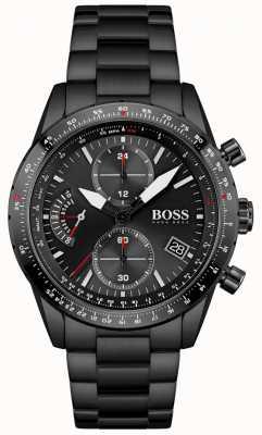 BOSS heren | pilot editie | zwarte armband | zwarte chronograaf wijzerplaat | 1513854