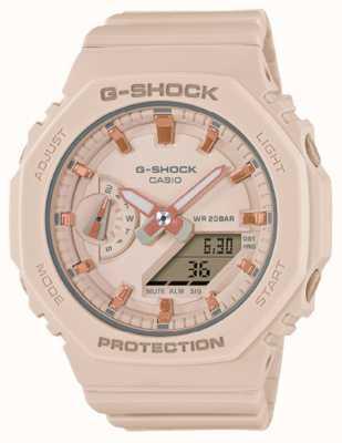 Casio Middelgrote g-shock | lichtroze horlogeband van hars | roze wijzerplaat GMA-S2100-4AER