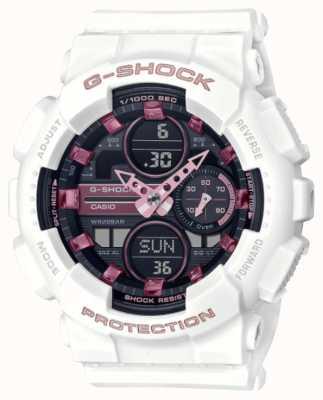 Casio G-schok | unisex sporten | witte kunststof band | zwarte wijzerplaat GMA-S140M-7AER