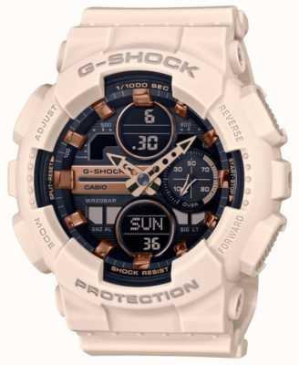 Casio G-shock | unisex sport | lichtroze horlogeband van hars | zwarte wijzerplaat GMA-S140M-4AER