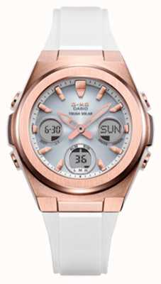 Casio G-schok | msg -rose-gold ip | witte kunststof band MSG-S600G-7AER