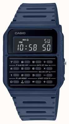Casio Retro rekenmachine horloge | blauwe kunststof band | zwarte wijzerplaat CA-53WF-2BEF